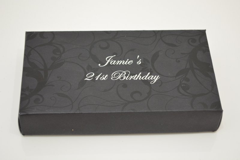 21st Birthday Box with silver text